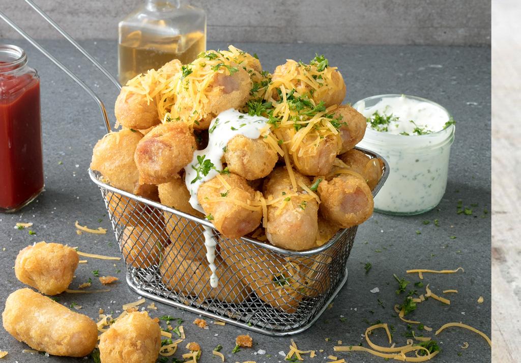 Garlic cheesy battered sausage bites